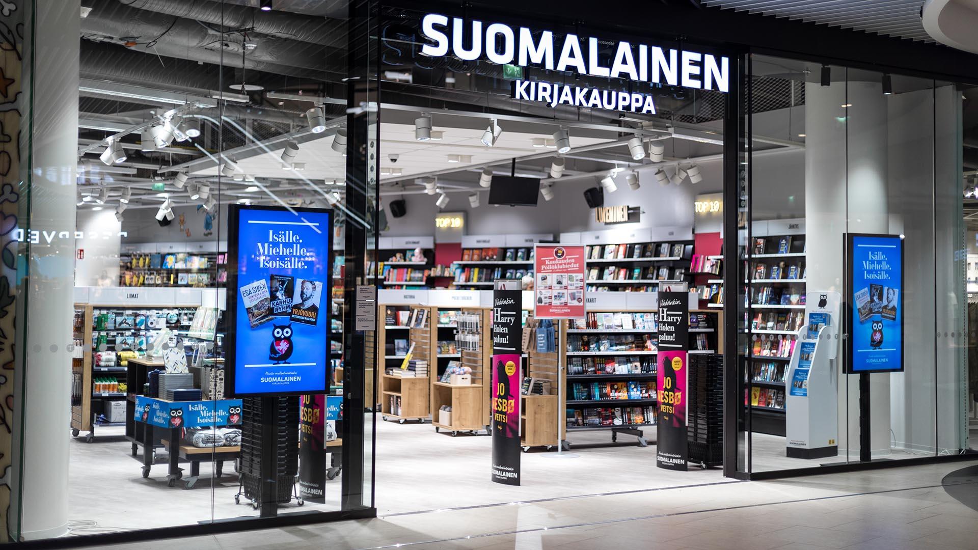 Suomalainen Kirjakauppa hyödyntää EWQ:n digitaalisia näyttöjä ikkunamainonnassaan. Liikkuvalla kuvalla on erinomainen huomioarvo.